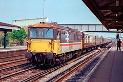 "73206 ""Gatwick Express"" Eastleigh - Down VSOE 17th June 1989 (Paul David Smith - Epping) Tags: 73206 eastleigh down vsoe 17th june 1989 pullman orient express 732 170689"