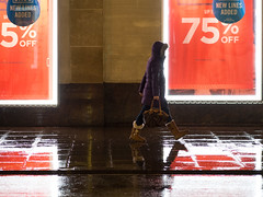 (Magic Pea) Tags: streetphotography street streetphoto candid woman walking reflections rain photo photography magicpea westend london oxfordstreet purple red sale wetreflections