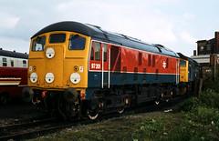 Class 97/2 no 97201 @ Coalville [slide 8032] (graeme9022) Tags: uk 2 electric train experimental day br open diesel bobo rail type works british locomotive 1980s railways derby discs disks headcode