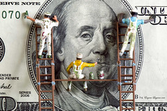 Making money with a Brush for Macro Mondays (Eugene Lagana) Tags: money macro painting one bill brush cash hundred dollar monday mondays preiser
