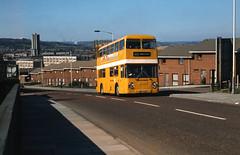 Leyland Atlantean with ECW body no. MTP304P @ Gateshead, Tyne & Wear, 04/04/1980 [slide 8047] (graeme9022) Tags: uk england bus yellow general north double tyne wear east service decker livery