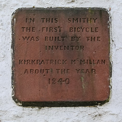 Cycling Tour of South-West Scotland: Plaque on Kirkpatric Macmillan's Smithy
