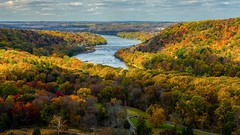 View From Bowman's Tower (Thomas James Caldwell) Tags: washington crossing historic park bucks county pennsylvania delawareriver fall autumn trees foliage yellow green orange red water clouds sky nature landscape outdoor woods forest color river tree