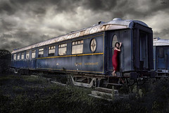 red at Orient Express (dim.pagiantzas | photography) Tags: windows red sky urban woman history museum clouds train canon wagon landscape restaurant model carriage dress cloudy outdoor macedonia transportation rails thessaloniki express orient atmospheric