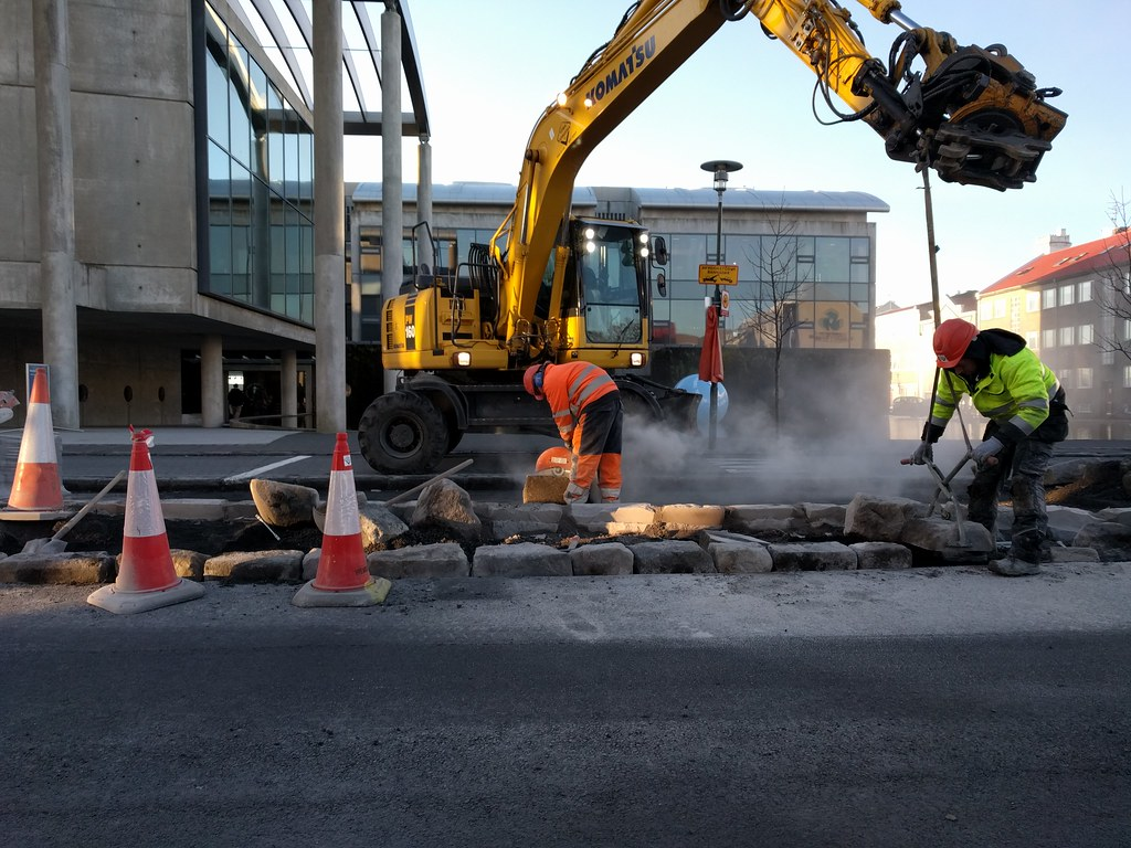 Early morning roadworks in front of Reykjavik City Hall