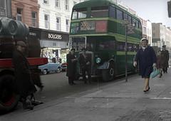 Dublin Bus Nth Earl Street Dublin @1960,s (JimGer947) Tags: tortosa street ireland 1960 dublinnorthearlstreetguinessbewerywomanmooneybardobledeckerdeckomnidusleylandtigerchassisbolgersdepartmentstoremadiganstheconfessionboxc ie cie dublin bus leyland tiger chassis bolger bolgers departmebt store garda gardai guiness brewery dray barrel barrels drayman man dbus driver conductor madigans mooney 1941 1962 1965 1970