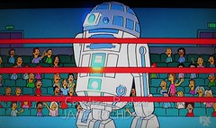 R2-D2 Star Wars VS Cylon 1496 (Brechtbug) Tags: meet dr smith the simpsons jonathan harris aka doctor dick tufeld voicing b9 robot from 1960s television scifi series lost in space animation bimonscificon convention new jersey springfield 1965 tv show portraits portrait jonathen zachary screen grab screengrab simpson matt groening fox 2018 nyc cartoon character yellow figures family comedy funny doh d oh mayored mob 9th episode 10th season 1998 december 122098