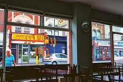 Feedwell Cafe (colinpoe) Tags: feedwellcafe 6x9 ektarlens mediumformat ektar100 cityscape storefront medalistii urban cafe london cafelife mitcham 620 rangefinder kodakmedalist signage medalist signs street kodakektarfilm