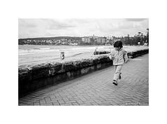 airborne, Manly Beach, Sydney  #044 (lynnb's snaps) Tags: bw film 2016 rollei35s zeisssonnar40mmf28 apx100 agfa street beach child running 40mm zeiss40mmf28sonnar v700 blackandwhite blackwhite bianconero noiretblanc monochrome schwarzweis biancoenero 黒と白 bianconegro analogue analog lynnburdekinphotography 35mmfilm ©copyrightlynnburdekinallrightsreserved ishootfilm