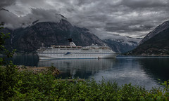Visiting (Siggi007) Tags: cruiseship seascape landscape landscaft natur fjords water clouds mist sky sea seaside ship boat tourists tourism travel reisen contrasts green views cruise canoneos6d norway eidfjord norwegen noruega norge mountains mountainside sailing tranquil traveling vessel mood beautiful serene lovely amazing magellan weather july outdoor photo picture panorama scenery scandinavia stunning flickr foto farben fjord colors colores vieux trees