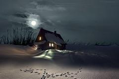 La casa (Zz manipulation) Tags: art aqmbrosioni zzmanipulation luci luna casa sera inverno