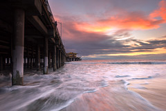 along the edge (Andy Kennelly) Tags: pier los angeles sunset waves water clouds colorful la beach ocean pch