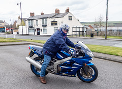 Kawasaki ZX6R. (CWhatPhotos) Tags: cwhatphotos camera photographs photograph pics pictures pic picture image images foto fotos photography artistic that have which contain flickr olympus prime lens view kawasaki zx6r motorbike bike motorcycle two wheels blue sport sports cross roads inn crossroads sacriston
