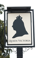 The Queen Victoria pub sign Shalford Surrey UK (davidseall) Tags: the queen victoria pub pubs sign signs inn tavern bar public house houses shalford surrey uk gb british english village hanging silhouette