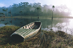 A boat in the misty morning (longtnguyen) Tags: dalat vietnam boat fisherman fog foggy forest grass lake lakeside lakeview landscape mist sunrise travel tree