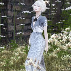 Fading Like A Flower (Ombrebleue Winsmore) Tags: sissboom dress formal casual long gown tram hair blond bun mandala earring necklace formanails nails bento lelutka mesh head maitreya body glamaffair applier skin lumipro