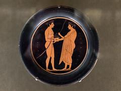 """Athletes XXVI: Palestra Scene (Egisto Sani) Tags: """"red figure"""" """"figure rosse"""" plate """"greek art"""" ceramic"""" pottery"""" """"ceramica greca"""" vases"""" """"caramica attica"""" """"attic """"vasi greci"""" vulci paris parigi """"musée du louvre"""" """"museo del louvre """"g 7"""" g7"""