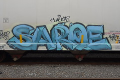 SAROE (TheGraffitiHunters) Tags: graffiti graff spray paint street art colorful benching benched freight train tracks hopper saroe