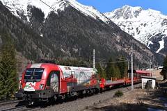1116 159, ASTB 9613 ( Böckstein > Mallnitz ). Mallnitz-Hintertal (M. Kolenig) Tags: 1116 150jahrebrennerbahn tauernbahn autoschleuse berg schnee wald