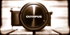 OLYMPUS. (CWhatPhotos) Tags: cwhatphotos camera photographs photograph pics pictures pic picture image images foto fotos photography artistic that have which contain flickr olympus prime lens view cap sepia