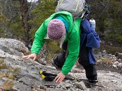 Jennifer scrambling up (David R. Crowe) Tags: outdooractivities scrambling canmore ab canada