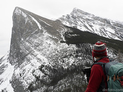 Brad admiring Ha Ling (David R. Crowe) Tags: landscape mountain nature outdooractivities scrambling snow water canmore ab canada