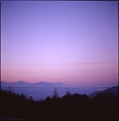 (✞bens▲n) Tags: hasselblad 500cm kodak e100vs carl zeiss 80mm f28 film 6x6 analogue evening sunset mountains nagano japan landscape