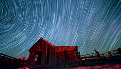 5dsr-startrail small (CaptDanger) Tags: nightsky night astrophotography newmexicoskies newmexico atnight barn middle nowhere photosbyalanosterholtz photography canonphotography longexposure longexposureatnight blue startrail stacked image red