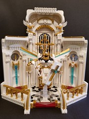 Battle Angel Ariadne's Sanctuary (PlasticPauper) Tags: lego toy diorama heaven god angel archangel smite paladin church cathedral altar holy battle gothic architecture interior macro mosaic nave sanctuary gold alabaster moc