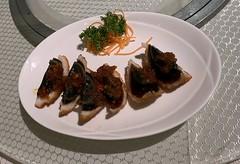 Deep-friedd century egg wrapped with minced shrimp  炸百花皮蛋 (l16812) Tags: 华樂 food singapore cantonesefood restaurant centuryegg mincedshrimp appetizer wah lok cantonese wahlokcantoneserestaurant