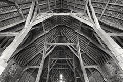 Inside Great Coxwell tithe barn (phileveratt) Tags: tithebarn medievalbarn greatcoxwell faringdon blackwhite monochrome oxfordshire