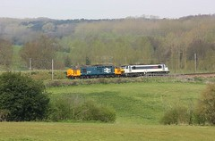 Diesel and Electric at Bratham (Chris Baines) Tags: drs 37407 hauling ga 90004 brantham working norwich crown point crewe tmd