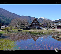 Springtime in Shirakawa-go (tomraven) Tags: shirakawago japan spring tomraveninjapan aravenimage water reflections thatched alpine japanalps alps pond snow snowcapped q22019 lumix lx100