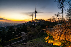 Sunset scene of N Seoul Tower at Namsan Mountain in Seoul City, (MongkolChuewong) Tags: architecture asia asian autumn background blossom blue building business cherryblossom city cityscape dusk flower forest high hour korea korean landmark landscape mountain n namsan nature night old outdoor park public seoul sky skyline south spring sukura summer sunset tall top tourism tourist tower town travel tree twilight urban view wall