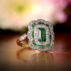 Antique Emerald Ring (estatediamondjewelry) Tags: wedding engagement ring proposal diamond gold design jewelry diamonds platinum flowers fashion