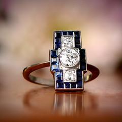 Art Deco Diamond Ring (estatediamondjewelry) Tags: art deco sapphire halo wedding engagement ring proposal diamond gold design jewelry diamonds platinum flowers fashion