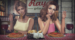 *Good food is all the sweeter when shared with your best friend* ❤ (Ⓐⓝⓖⓔⓛ (Angeleyes Roxley)) Tags: spaghetti sister sl secondlife sweet fork wine italian