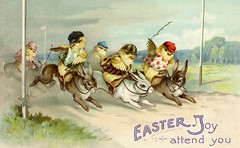 Jockey Chicks at the Easter Rabbit Race (Alan Mays) Tags: ephemera postcards greetingcards greetings cards eastercards paper printed easter holidays rabbits bunnies chickens chicks birds poultry animals races jockeys clothes clothing hats caps whips crops finishlines anthropomorphic anthropomorphism illustrations humor humorous funny comic yellow green purple 1912 1910s antique old vintage typefaces type typography fonts internationalartpublishingco postcardpublishers seriesno2000 postcardseries