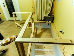 Window perch for GouGou (Canadian Dragon) Tags: 2018 bc canada dschx5c nanaimo september vancouverisland dog fall perch railing stairs tobasement