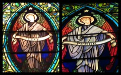 Tiffany before and after restoration (yooperann) Tags: louis comfort tiffany stained art glass window church angel banner peace collage beforeandafter improvement