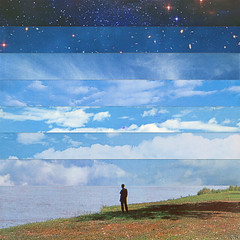 tlots (woodcum) Tags: man standing alone river sky collage surreal grain retro vintage observer horizon square color