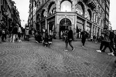Fuji X-T1 - People on the go in Amsterdam (Erol Cagdas) Tags: fujifilm fuji fujix xt1 fujinon 1024mm wide ultrawide streetphotography shotfromthehip hip hipshots people urban street netherlands holland amsterdam blackwhite bw monochrome remoteapp