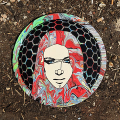 Sphere of Influence (id-iom) Tags: art stencil paint painting paintpouring acrylicpaint pouring swirls girl face lady woman sphere hair circle round stare emilia instagram modern contemporary urban pop graffiti