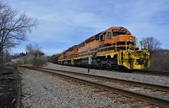 BP 3341 Entering DuBois Yard. DuBois, PA (bobchesarek) Tags: bprr buffalopittsburghrailroad trains railroad locomotive duboisyard hoppers emdsd403