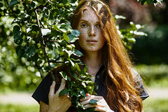 freckles in apples (Melodyphoto3) Tags: photo photography artphoto art fineart color bokeh portrait model vintage light canon redhead freckles apple sun