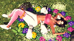 Spring & Easter (kare Karas) Tags: woman lady femme girl girly sweet cute beauty pretty fun rabbits spring easter holidays mesh bento animated color hud poses gift event april fashion secondlife sexy hec fashiowlposes redeuxevent