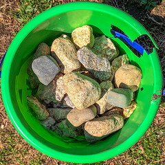 There's a Hole in the Bucket... (Timothy Valentine) Tags: 0419 large home squaredcircle green pail 2019 stones intheneighborhood eastbridgewater massachusetts unitedstatesofamerica