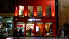 City Restaurant at Night 02 (byronv2) Tags: edinburgh edimbourg scotland cityrestaurant chips chipshop cafe building architecture southside southbridge night edinburghbynight nuit nacht red colour