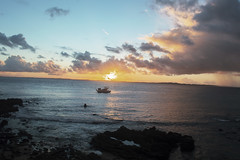 Late afternoon (mara.arantes) Tags: boat sunset sky brasil beach cloud stone bahia salvador praia sol sun water ocean oceano mar pedras barco