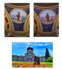 Montana State Capitol - Rotunda - Helena Mt (Onasill ~ Bill Badzo) Tags: greek neoclassical architectural style montana state capitol helena mt downtown nrhp clouds sky statue garden historic historical register interior exterior dome us flag usa attraction walking tours tourist onasill america architecture building serene site stain glass atrium vault ceiling collage murals medalions lewis clark